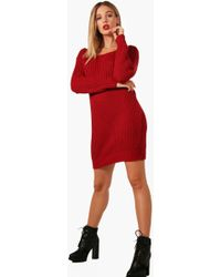 Boohoo - Alice Soft Knit Slash Neck Jumper Dress - Lyst