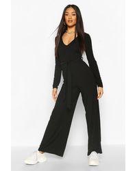 Boohoo Ribbed Long Sleeve Tie Waist Jumpsuit - Black