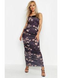 Boohoo Womens Plus Slinky Cherry Blossom Ruched Midaxi Dress - Black - 24