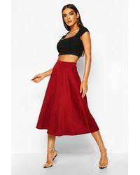 Boohoo Basic Plain Full Circle Midi Skirt - Red