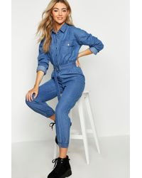 Boohoo Womens Denim-Overall - Blau