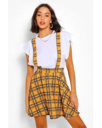 Boohoo Flanneled Pinafore Flippy Skirt - Yellow