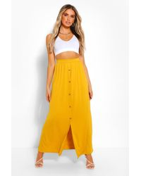 Boohoo Button Front Jersey Maxi Skirt - Yellow