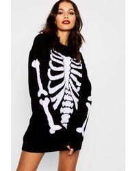 Boohoo Halloween Skeleton Knitted Sweater Dress - Black