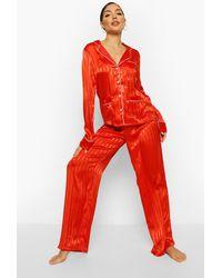 Boohoo Womens Gestreifter Schlafanzug Aus Jacquard-Satin - Rot
