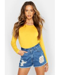 Boohoo Basic Long Sleeve Crew Neck T-shirt - Yellow