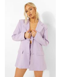 Boohoo Fitted Longline Blazer - Purple