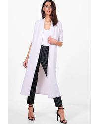 Boohoo - Turn Up Cuff Duster Coat - Lyst