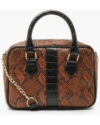 Lyst - Boohoo Faux Snake Mini Lock Grab Bag in Brown 01a8eb56bd12d