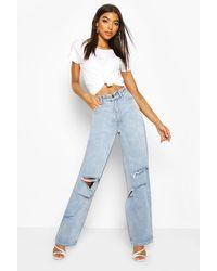 Boohoo Tall Rip Boyfriend Jeans - Blue