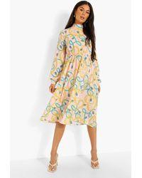 Boohoo Woven Chain Print High Neck Midi Dress - Rosa