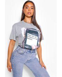 "Boohoo Womens T-Shirt Mit ""Help Me""-Grafik - Grau"