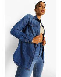 Boohoo Womens Jeanshemd Im Western-Style - Blau