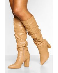 Boohoo Slouched Block Heel Knee High Boots - Brown