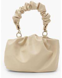 Boohoo Mini Grab Ruched Handle Bag - White