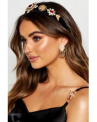 Boohoo Womens Premium Jewel Embellished Headband - Black