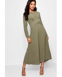 Boohoo - Womens Knot Front Culotte Jumpsuit - Lyst