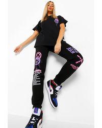 Boohoo T-Shirt Oversize Imprimé Graffiti Et Jogging - Noir