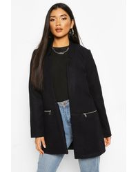 Boohoo Zip Pocket Wool Look Coat - Blue