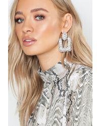 Boohoo Square Textured Oversized Earrings - Grey