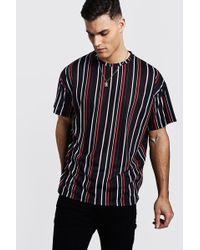 Boohoo T-shirt surdimensionné vertical à rayures - Noir