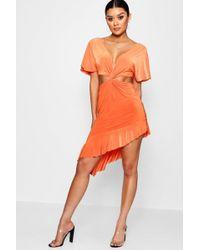 Boohoo - Slinky Cut Out Twist Ruffle Midi Dress - Lyst
