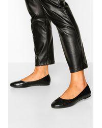 Boohoo Round Toe Croc Ballets - Black