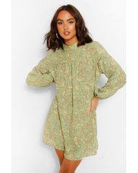 Boohoo Robe Babydoll À Imprimé Floral - Vert