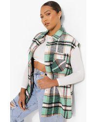 Boohoo Plus Green Flannel Gilet