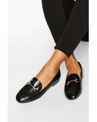 Boohoo T Bar Croc Basic Loafers - Black