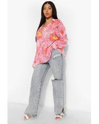 Boohoo Camisa Plus De Playa Con Estampado Tropical - Rosa
