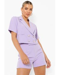 Boohoo Double Breasted Cropped Tailored Blazer - Viola