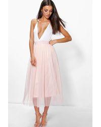 Boohoo Tall Boutique Tulle Mesh Midi Skirt - Purple