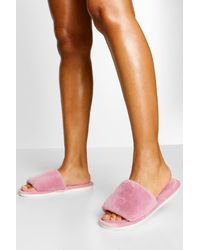 Boohoo Fluffy Slider Slipper - Pink