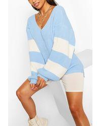 Boohoo Stripe Sleeve V Neck Oversized Jumper - Natural