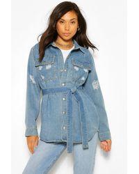 Boohoo Denim Stud Detail Belted Jean Jacket - Blue