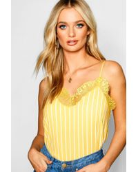 abeaa9f77920 Boohoo Petite Woven Shirred Tie Strap Beach Top in Yellow - Lyst