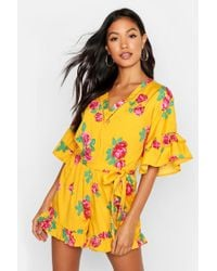 Boohoo Womens Ruffle Detail Floral Romper - Yellow - 4