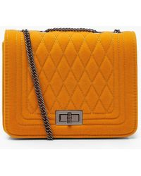Boohoo - Suedette Quilted Cross Body Bag - Lyst