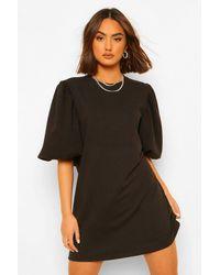 Boohoo Sleeve Detail Balloon Sleeve Sweater Dress - Nero
