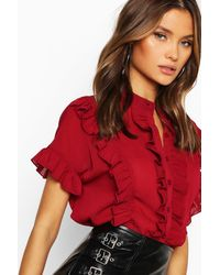 Boohoo Womens Ruffle Short Sleeved Shirt - Red
