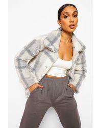 Boohoo Flannel Teddy Faux Fur Button Through Coat - Grey