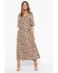 Boohoo Floral Wrap Fron Tmidi Dress - Nero