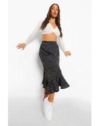 Boohoo Polka Dot Ruffle Hem Midi Skirt - Black