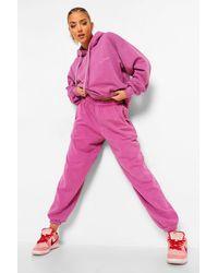 Boohoo Womens Ofcl Studio Melierte Jogginghose Mit Überfärbung - Pink