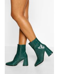 Boohoo Block Heel Square Toe Sock Boot - Green