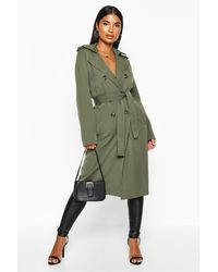 Boohoo Petite Utility Button Detail Trench Coat - Green