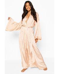 Boohoo Tonal Satin Oversized Sleeve Robe - Pink