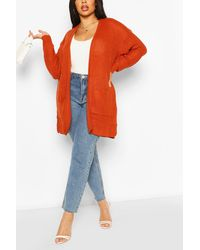 Boohoo Plus Fisherman Rib Oversized Boyfriend Cardigan - Arancione