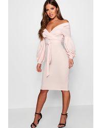 Boohoo Off The Shoulder Wrap Midi Bodycon Dress - Pink